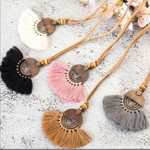 Jewelry - NWT Boho Black Tassel with Faux Leather Chain